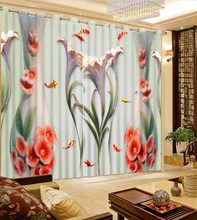 Photo Customize Size 3D Curtain Flower Vase Curtains Ceramic Window Curtain For Living Room Curtains For Bedroom(China)