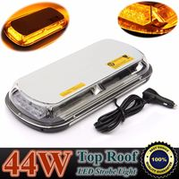 Yellow 44 LED Light Car Roof Top Flashing Strobe Light DC 12V 44W With 4 Magnet Bases & Cigarette Lighter Power Line