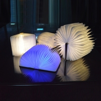 LED Foldable Wooden Book Shape Desk Lamp Nightlight Booklight USB Rechargeable Dls HOmeful
