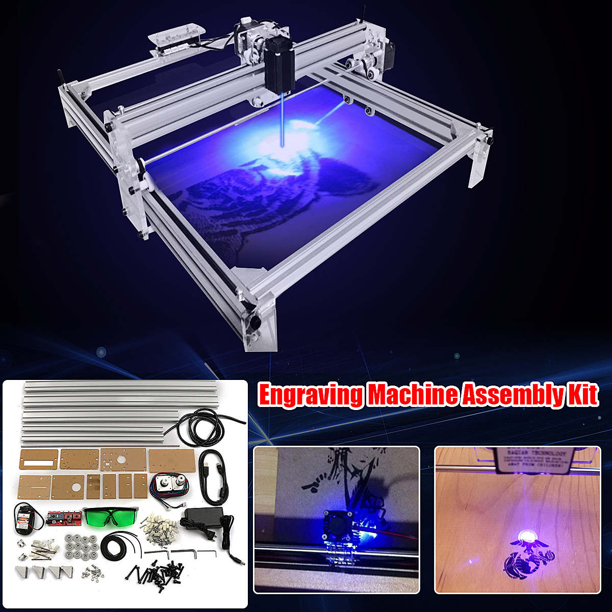 40X50CM 500mW DIY Desktop Mini Blue Laser Engraving Engraver Machine Wood Router/Cutter/Printer/Power Adjustable + Laser Goggles