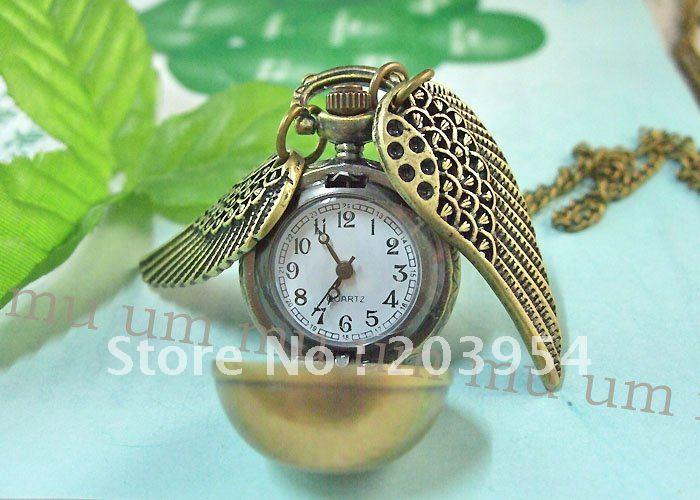 Псевдо антикварные часы «Дары смерти» карманные часы с шариковым крылом бронзовые Кварцевые винтажные мужские и женские ожерелья с цепочкой под старину