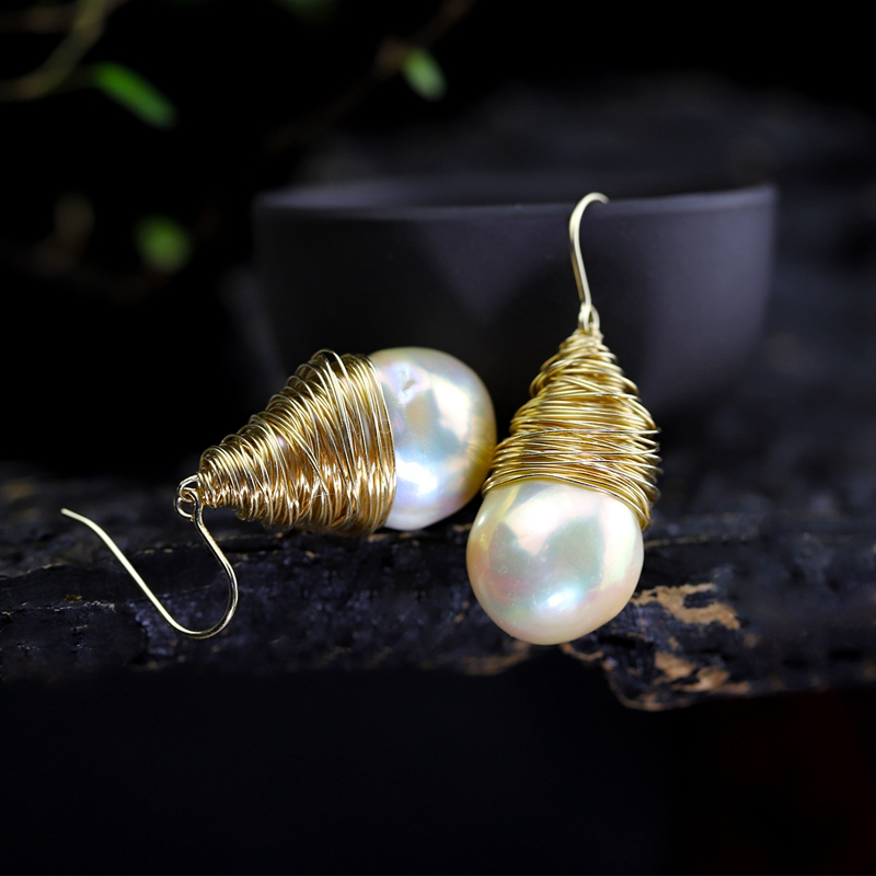 925 sterling silver Baroque pearl drop earrings gold handmade natural big Baroque pearl earrings for women Baroque jewelry charm baroque
