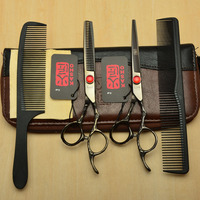 4Pcs Suit 6 Purple Black Kasho Professional Human Hair Scissors Hairdressing Cutting Combs Shears Thinning Scissors