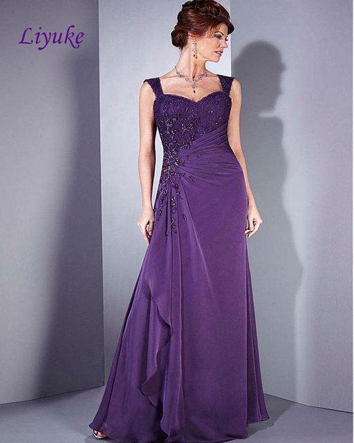 Liyuke Elegante Gasa Plisa Rebordear Apliques de Encaje Palabra de Longitud vestido de Una Línea Madre de la novia Con Mangas Desmontables