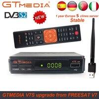 Hot DVB S2 Freesat V7 With USB WIFI FTA TV Receiver gtmedia v7s hd power by freesat Support Europe 7 cline CCCAM Network Sharing