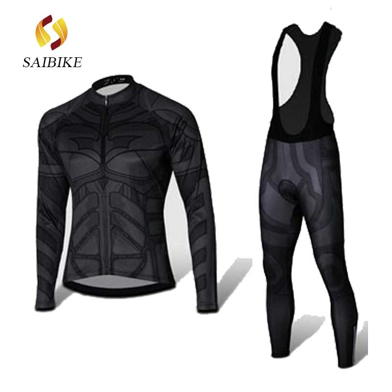 saiBike Long Cycling Jersey bib pants set black batman bicycle wear Spring Autumn long sleeves Ropa Ciclismo Cycling Clothing брюки ido брюки