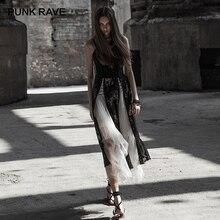 Панк Рейв, новинка, готическое женское черное кружевное платье на бретельках, платье принцессы с разрезом, сексуальное длинное платье с разрезом для женщин, вечерние платья для ночного клуба