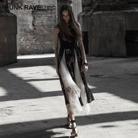 PUNK RAVE New Gothic Women's Black Lace Strap Corn Rope Slit Princess Sexy Split Long Dress for Women Party Night Club Dresses