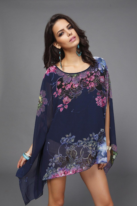 Boho top kupaći rukav Plus size šifon bluze žene cvjetni ispisane - Ženska odjeća - Foto 2