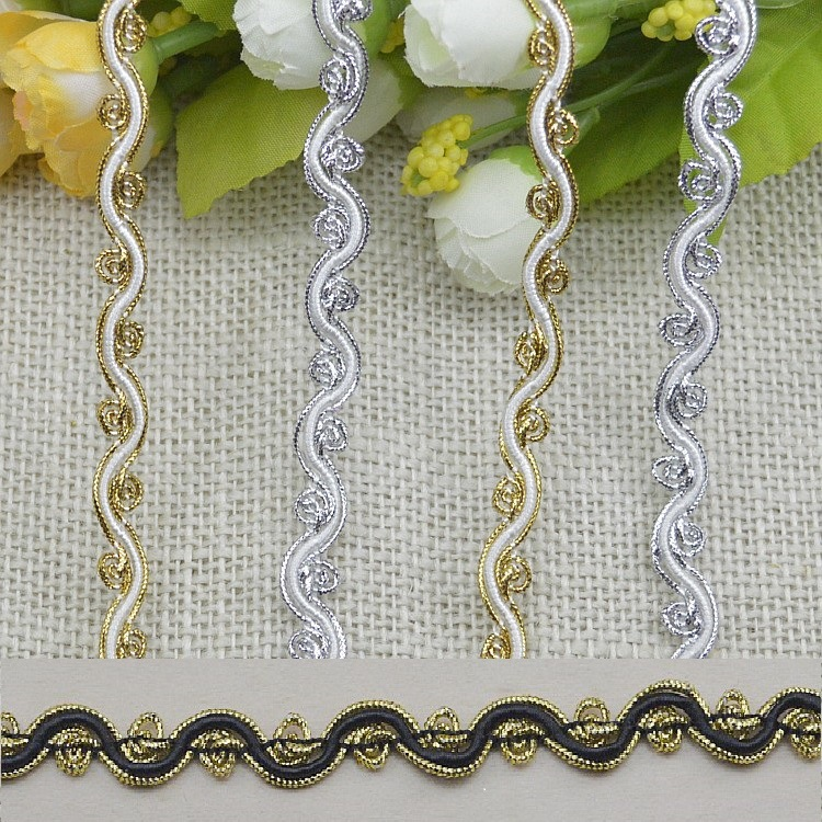 New arrival 0.9Cm 30m/lot gold silver black diy decoration polyester lace trim ribbons fashion S-shape lace trimming W026
