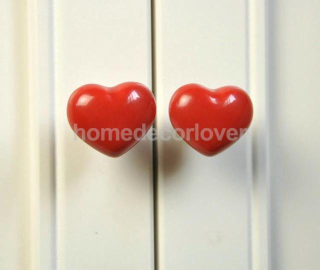 Aliexpress.com : Buy 1pc 38x30mm Red Heart Shaped Ceramic Door ...