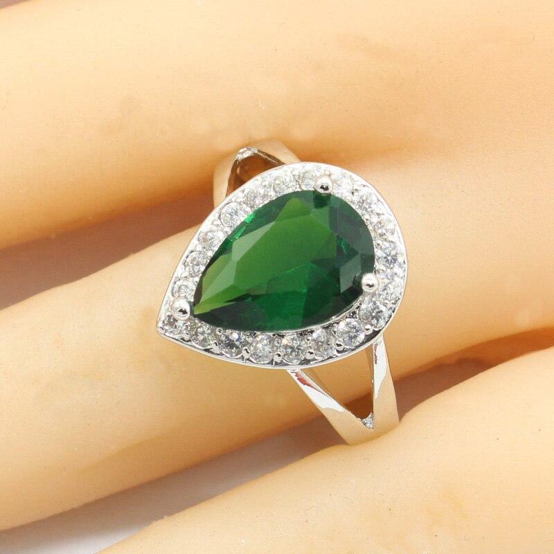Frauen Ring Wasser Tropfen Silber 925 Ringe Für Frauen Grün Semi-wertvolle Stein Engagement Ring Femme Klassische Weibliche Ringen Freies Box