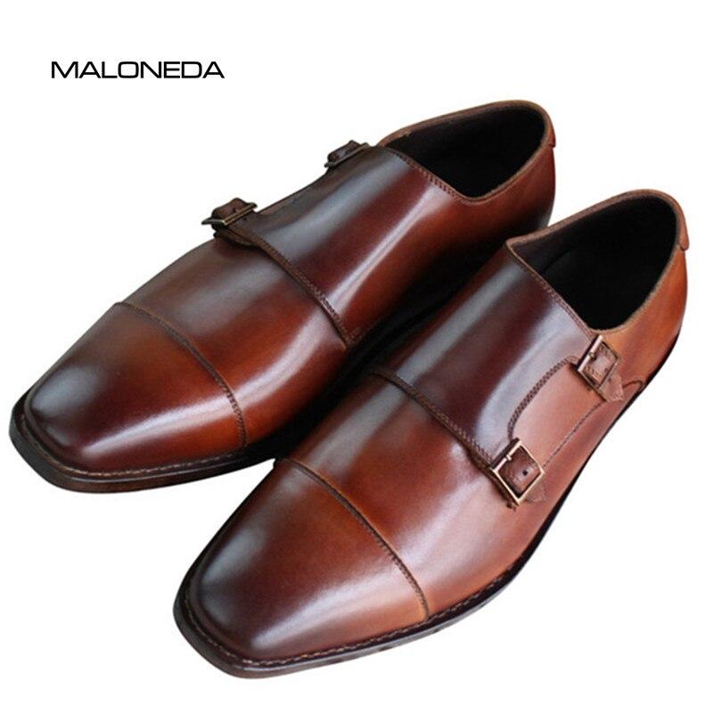 c59a2f58 MALONEDA encargo sus zapatos Manual puro Goodyear handcraf welted cuero  genuino doble correas monje Zapatos de vestir de negocios - a.spelacasino.me