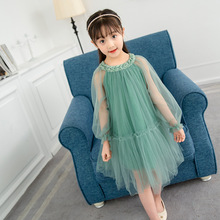 New Summer Clothing Girls Ruched Lace Dress Princess Kids Cute Full Knee-Length A-Line Solid Mesh Wedding Dresses For Party