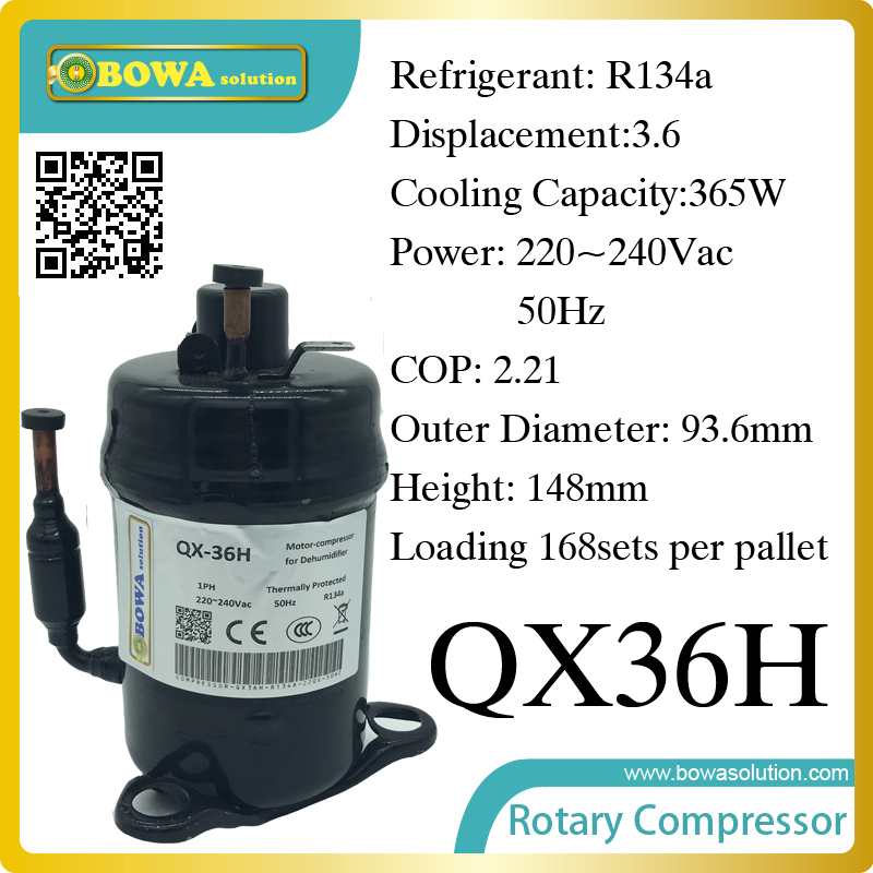 365W Cooling capacity hermetic compressor (R134a) suitable for dehumidifier machine and portable dry machine r410a compressor 1250w cooling capacity suitable for dehumidifiermachine or air dryer machine