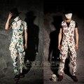 Hombres pantalones flacos de la personalidad pantalones harem impresión para hombre personalidad chaleco ajustado delgado cadena impresión chaleco largo del diseño set trajes del cantante