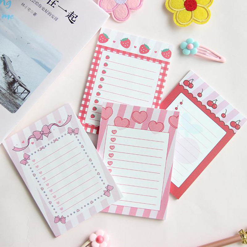 1 Pcs Lovely Pink Heart Cherry Strawberry Bowknot Memo Pads Planner Notepad Stationery Paper Bookmarks Papelaria School Office