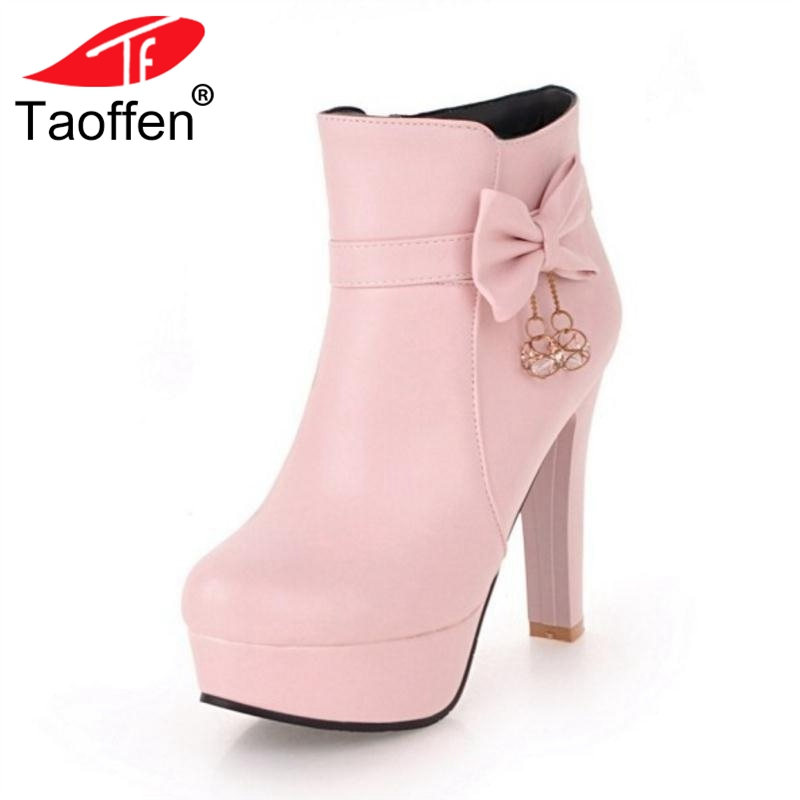Taoffen 4 Color Women High Heels Ankle Boots Winter Bowknot Warm Fur Shoes Woman Sexy Metal Zipper Platform Boots Size 34-43Taoffen 4 Color Women High Heels Ankle Boots Winter Bowknot Warm Fur Shoes Woman Sexy Metal Zipper Platform Boots Size 34-43
