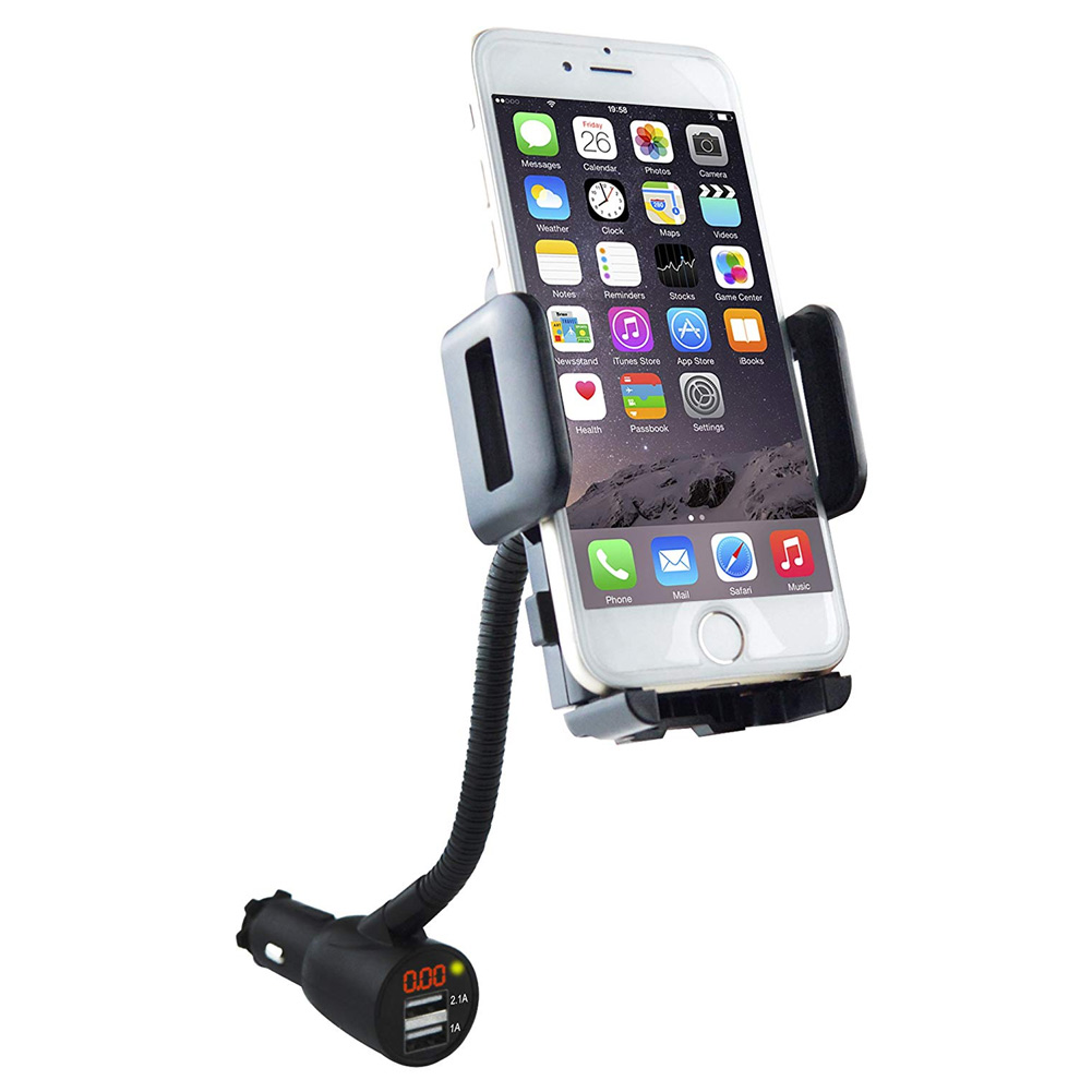 Otomobiller ve Motosikletler'ten Universal Araç Braketi'de Yeni 3 in 1 araç tutucu çakmak gerilim dedektörü çift USB araç tutucu title=