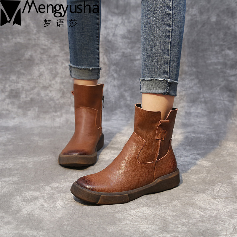 New 2017 Autumn Early Winter Shoes Women Flat Heel Martin Boots Fashion Women's Real Leather Boots Brand Woman Shoes Ankle Botas мышь беспроводная intro mw108