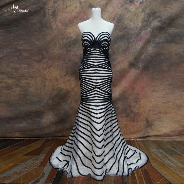 RSE69 Black Straps Pattern Evening Sequins Beaded Dresses Celebrity Dresses