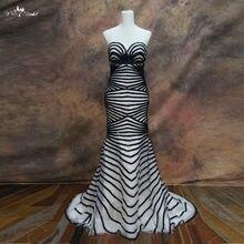 RSE69 noir bretelles motif soirée paillettes robes perlées robes de célébrité