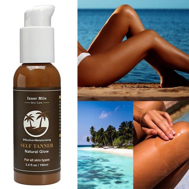 ISNER MILE Self Tanning Body Cream Sunless Bronzer Natural Solarium Oil Long Lasting Face Sun Tan Bronze Salon Lotion 100ml