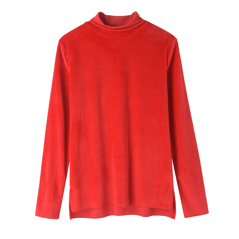 s7b autumn and winter solid color t shirt female long sleeved loose round neck Korean version