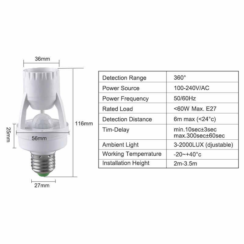 AmmToo E27 lamp bulb scoket PIR Infrared Motion Sensor Lamp Socket Holder AC 100-240V 360 Degree Detection Day & night 2 modes