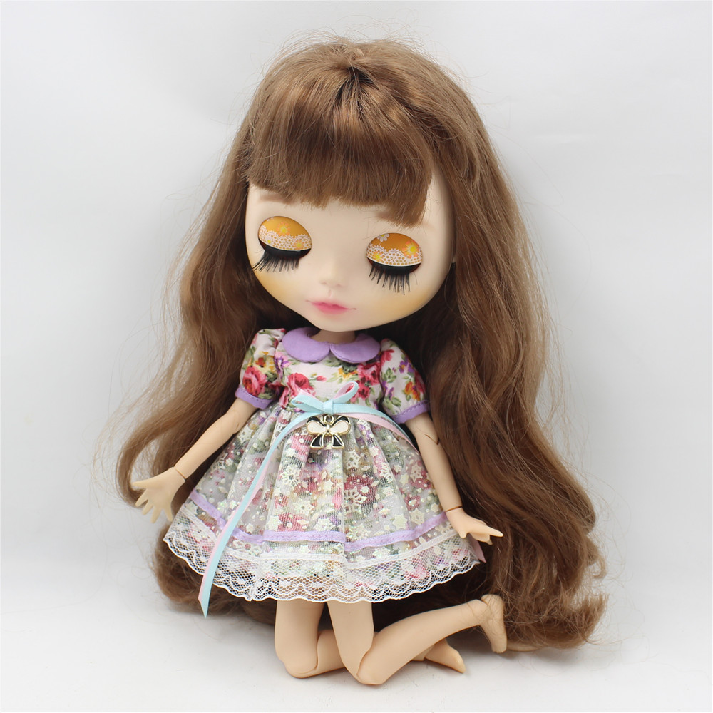 Neo Blythe Doll Vintage Floral Dress with Hairband 4