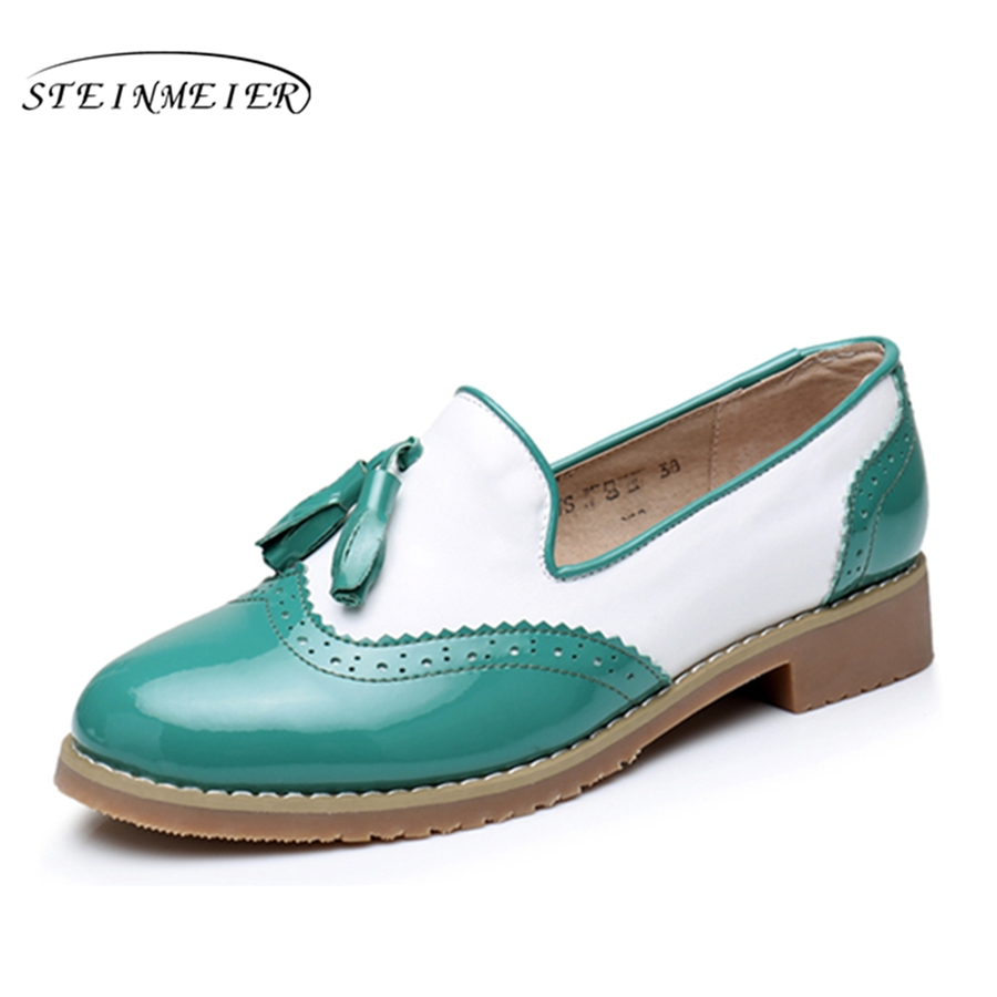 Genuine cow leather brogues designer vintage flats shoes handmade oxford shoes for women big US 11 with fur 2018 sping