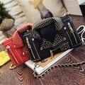 2016 Новый Дизайн Симпатичные Костюмы Мешок Личность Заклепки Цепи Женщины сумка Мода Crossbody Сумки для Женщин Черный Розовый 4 Цвета муфты