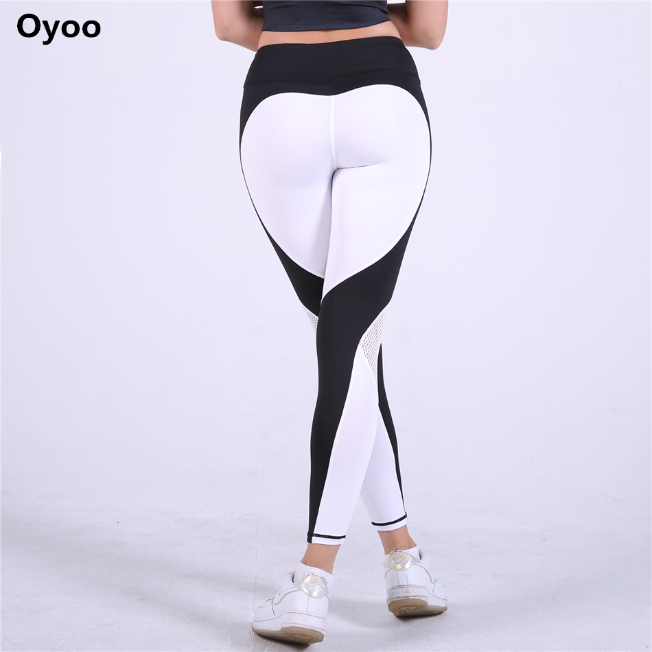 Oyoo Sexy Contrast Heart Legging Red Running Tights Women Sport Pants Gym Clothes Sports Leggings Fitness Hot Mesh Yoga Pants