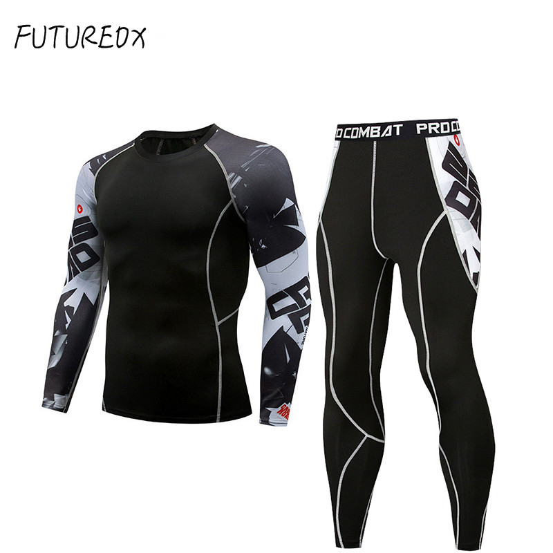 Brand Men Tracksuit Rashgard Kit Long Sleeve T Shirt Leggins Men 2 Piece MMA Clothing Compression Sport Shirts Trousers