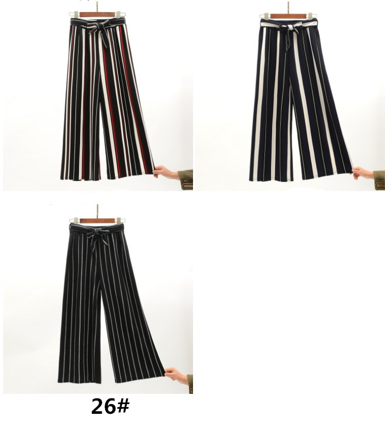 2019 Women Pants Summer New Striped High Waist Loose Pants Striped Straight Nine Pants Women 13