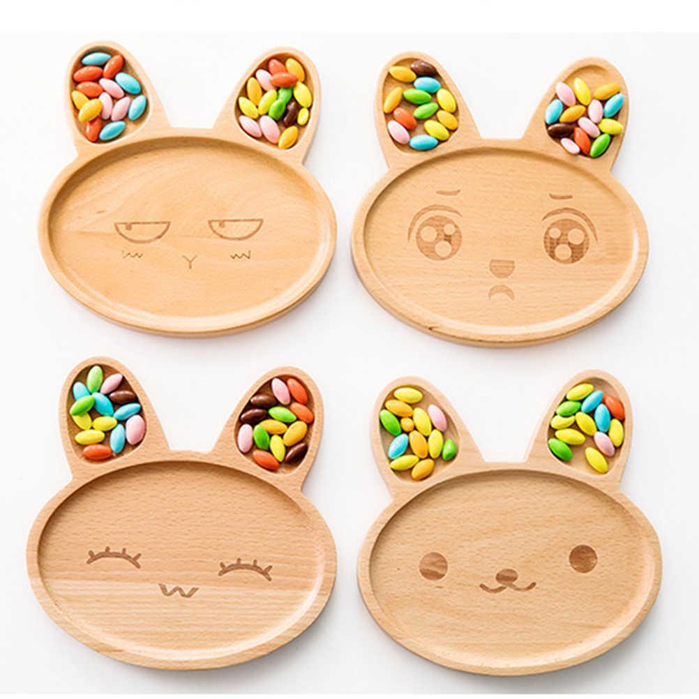 Nette Cartoon Teller Teller Kinder Kaninchen Form Holz Platte Tablett Baby Unterteilt Fach Tablett Für Kinder (Glücklich kaninchen)