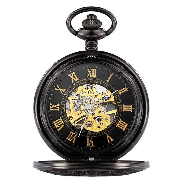 00cb1462db2 Top Esqueleto Antigo Liga de Ouro Algarismos Romanos Mostrador Preto Caso Homens  Mão mecânica Vento Relógio