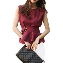 2019 Formal Office Ladies Suit Set Ruffled Sleeveless Cotton