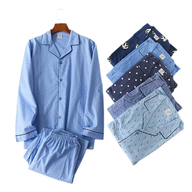 Winter 100% Brushed Cotton Pajamas Sets Men Sleepwear Long-sleeve Pijama Hombre Simple Korea Fashion Pyjamas Hot Sale
