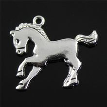 Jewelry Making Diy Handmade Craft Charms 5pcs/lot Antique Silver Color 23x25mm Horse Pendant(China)