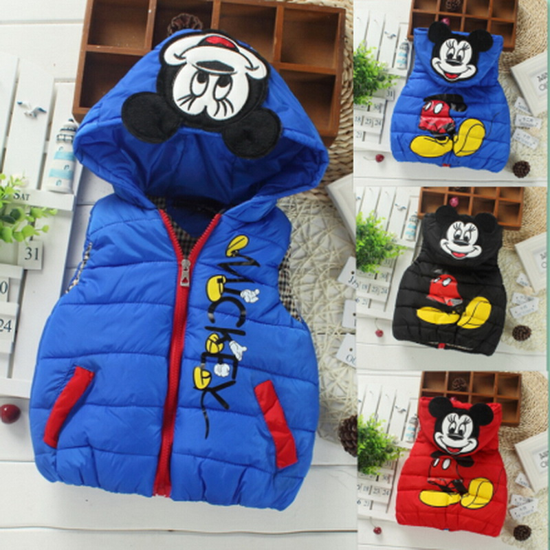 Retail Baby children autumn/winter fashion cartoon vest Kids sports leisure jacket boys/girls comfortable coat Hot sale