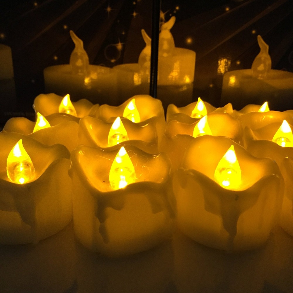 LumiParty LED Tea Light 12pcs Amber Yellow Flickering Flameless Candles Drop Tear Birthday Candle for Wedding Christmas Decor