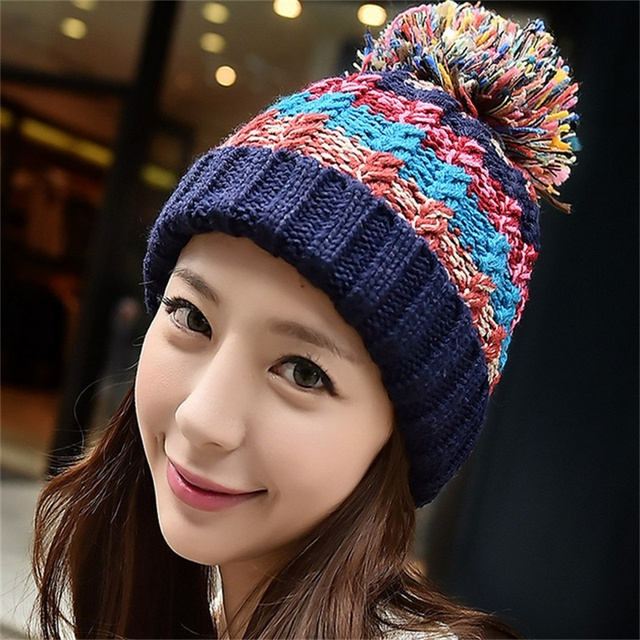 Warm Winter Woolen Hat Ladies Fashion Striped Big Hats Bonnet Women Beanies  And Caps Large Heads Knitted Skullies 4c04a54f9d0