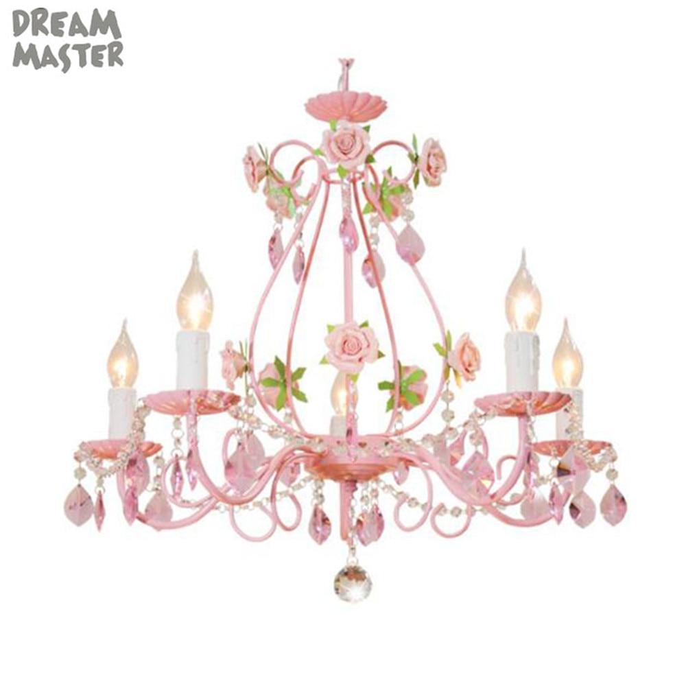 Pink Wedding Flower Chandelier Rose decor Crystal lustre Lighting Living Room Dining Room girl Children s