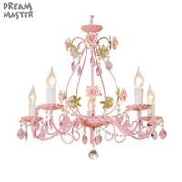 Pink Wedding Flower Chandelier, Rose decor Crystal lustre Lighting, Living Room Dining Room girl Children's Bedroom hanging lamp