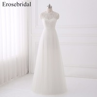 A Line Chiffon White Wedding Dress Bridal Gown With Lace Sleeveless Wedding Gown Vestido De Noiva