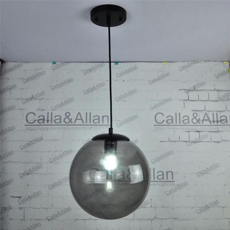 D250mm Smoke grey color finished glass ball black iron pendant light with bulb 1.1 meter wire D120mm ceiling plate hanging lamp d250mm smoke grey color finished glass ball black iron pendant light with bulb 1 1 meter wire d120mm ceiling plate hanging lamp