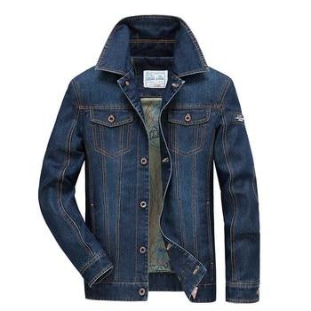 Menswear Autumn Winter Jeans Jakcet Casual Men OUTWEAR Coat Cowboy Denim Jacket Multi Pocket Male Turn Collar Clothes