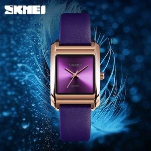 Image 2 - SKMEI レディース腕時計トップブランド高級レザークォーツ時計女性のファッションドレス腕時計女性リロイ montre ファム 2018