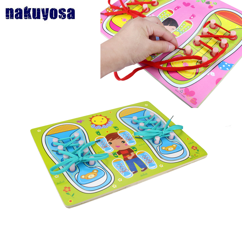 Kids Learn Tie Shoe Lace Toy Teaching Toy Wooden Puzzles Board Lacing Shoelaces Children Early Education Toys  Funny Game